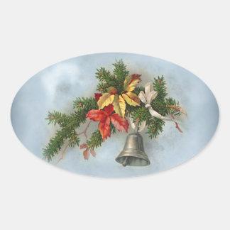 Adorno del navidad del vintage con Bell Pegatina Ovalada