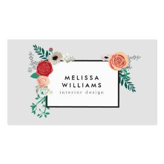 Adorno floral moderno del vintage en diseñador tarjetas de visita