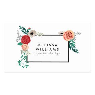 Adorno floral moderno del vintage en el diseñador tarjetas de visita