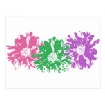 Adorno floral rosado, verde, púrpura tarjeta postal
