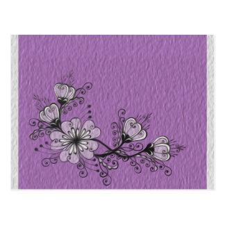 Adorno gris púrpura negro floral de la gente del tarjetas postales