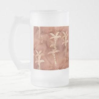 Adorno monocromático de la palmera del teñido taza de cristal