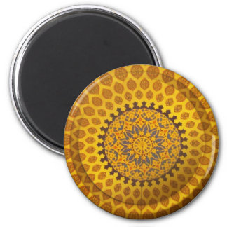 Adorno persa de bronce del oro imán redondo 5 cm