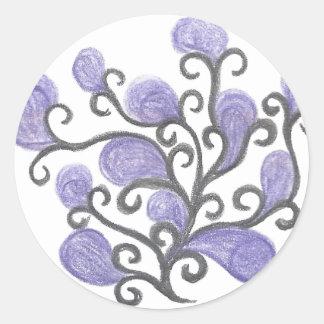 Adorno púrpura de la flor del brote pegatina redonda