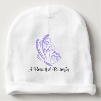 Adorno púrpura de la mariposa gorrito para bebe