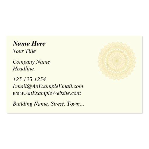 Adorno redondo en el color poner crema tarjetas de visita