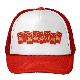 Adorno rojo del sobre gorras