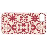 Adorno rojo lamentable del vintage y elegante flor iPhone 5 fundas
