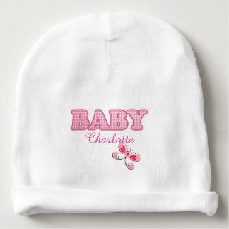 Adorno rosado del bebé de la mariposa de la guinga gorrito para bebe