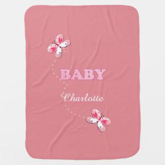 Adorno rosado del bebé de la mariposa de la guinga mantitas para bebé