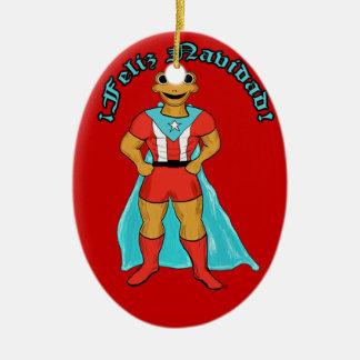 Adorno Super Coqui Feliz Navidad Ceramic Ornament