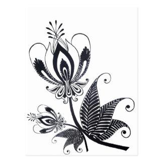Adorno surrealista popular del dibujo negro floral tarjeta postal