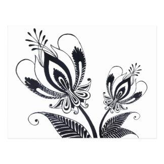 Adorno surrealista popular del dibujo negro floral postales