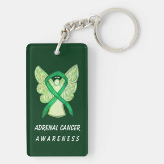 Adrenal Cancer Awareness Green Ribbon Keychain