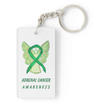 Adrenal Cancer Awareness Green Ribbon Keychain
