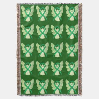 Adrenal Cancer Awareness Ribbon Art Throw Blankets