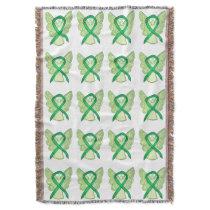Adrenal Cancer Awareness Ribbon Art Throw Blankets