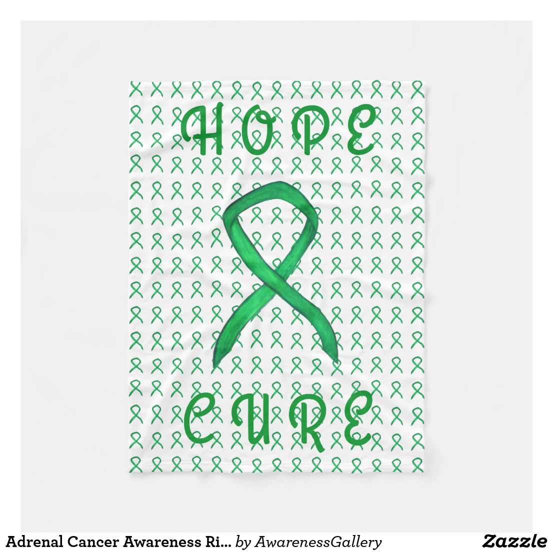 Adrenal Cancer Awareness Ribbon Fleece Blankets