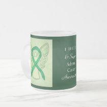 Adrenal Cancer Green Awareness Ribbon Angel Mug
