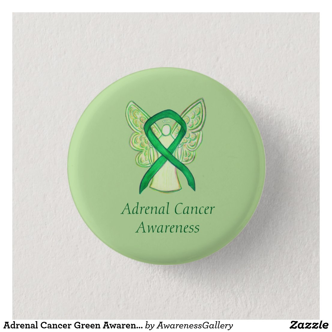 Adrenal Cancer Green Awareness Ribbon Angel Pin