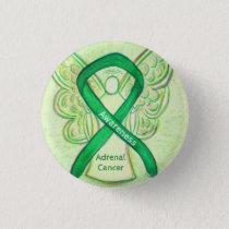 Adrenal Cancer Green Awareness Ribbon Angel Pin