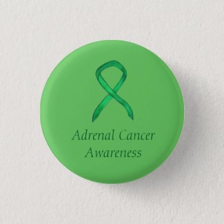 Adrenal Cancer Green Awareness Ribbon Pin