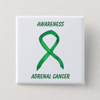 Adrenal Cancer Green Awareness Ribbon Pin
