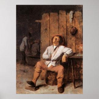 Adriaen Brouwer A Boor Asleep Poster