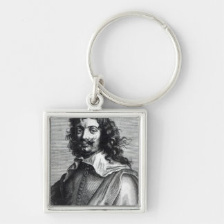 Adriaen Brouwer, engraved by Edme de Boulonois Silver-Colored Square Keychain
