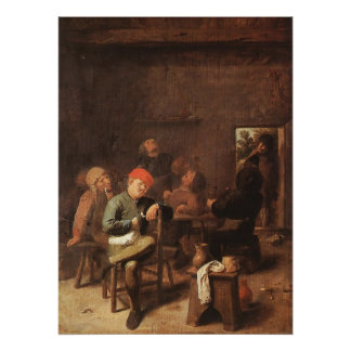 Adriaen Brouwer Peasants Smoking And Drinking Poster