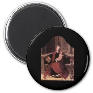 Adriaen Isenbrandt Virgin and Child Enthroned 2 Inch Round Magnet
