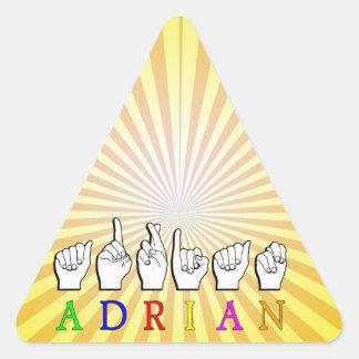 ADRIAN NAMESIGN FINGERSPELLED ASL PEGATINA TRIANGULAR
