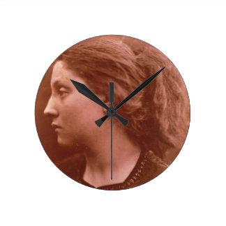 Adriana (sepia photo) round clock