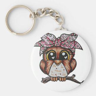 Adriana's Owl by Cheri Lyn Shull Basic Round Button Keychain