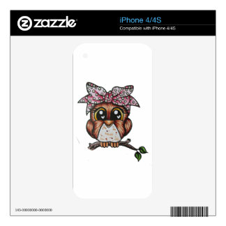 Adriana's Owl by Cheri Lyn Shull Decals For The iPhone 4S