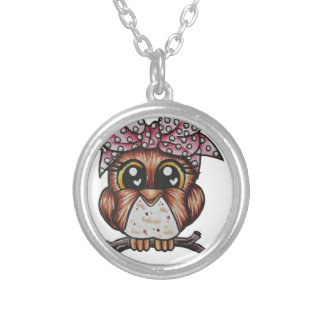 Adriana's Owl by Cheri Lyn Shull Round Pendant Necklace