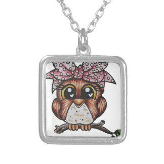 Adriana's Owl by Cheri Lyn Shull Square Pendant Necklace