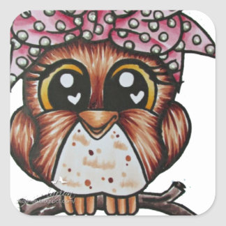 Adriana's Owl by Cheri Lyn Shull Square Sticker