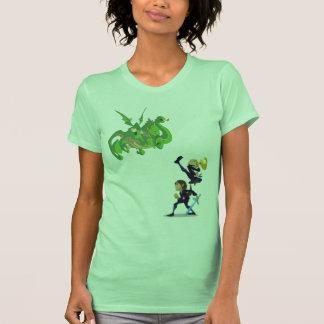 Adrianna and Rebecca fighting Dragon by Nino T Shirts