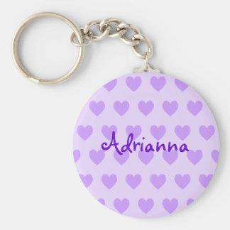 Adrianna en púrpura llaveros personalizados