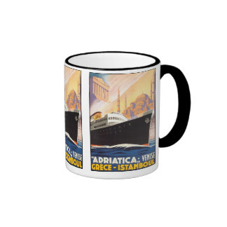 Adriatica Lines - Vintage Travel Poster Ringer Mug
