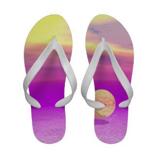 Adrift, Abstract Gold Violet Ocean Flip-Flops