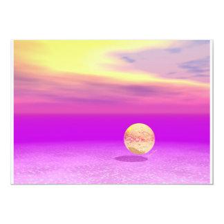 "Adrift, Abstract Gold Violet Ocean 5"" X 7"" Invitation Card"