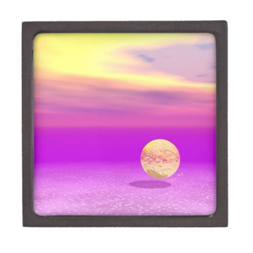 Adrift, Abstract Gold Violet Ocean Jewelry Box