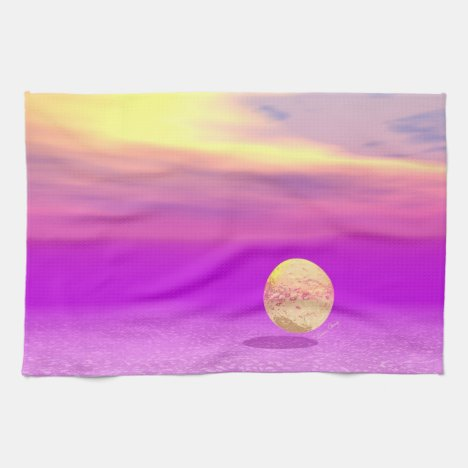Adrift, Abstract Gold Violet Ocean Kitchen Towel