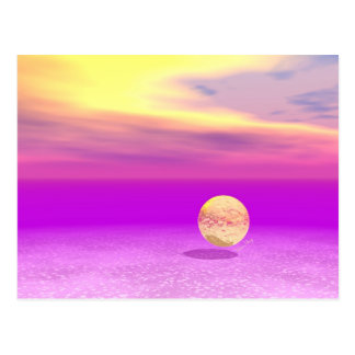 Adrift, Abstract Gold Violet Ocean Postcard