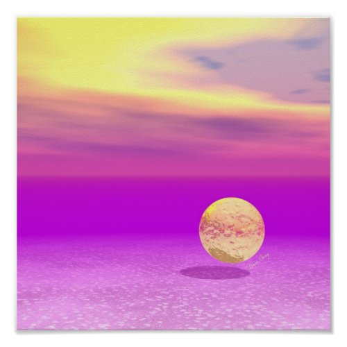 Adrift, Abstract Gold Violet Ocean Poster