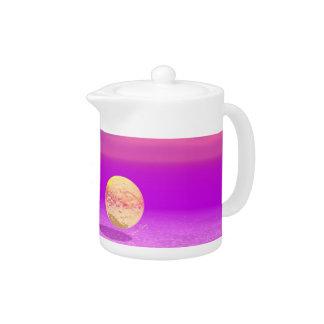 Adrift, Abstract Gold Violet Ocean Tea Pot