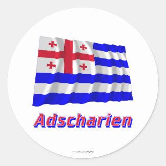 Adscharien Fliegende Flagge mit Namen Round Stickers