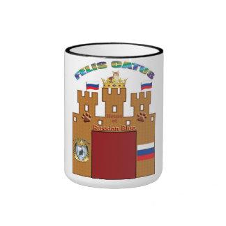 Aduanas de la taza rusa Rusia del escudo del gato